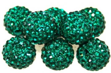 10mm Teal 115 Stone Pave Crystal Beads- Half Drilled PCBHD10-115-008